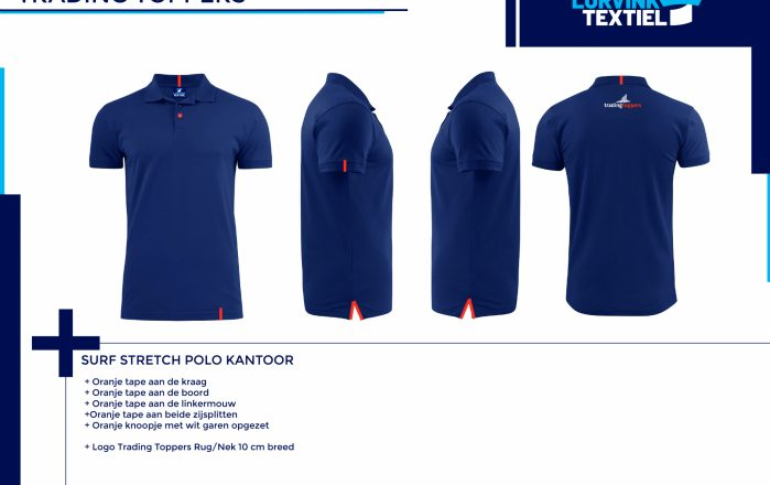 Tradingtoppers Surf Stretch Polo Kantoor Navy Tekengebied 1